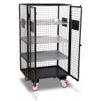 Armorgard FittingStor FC6 Wire Mesh Mobile Storage Cage Open and  Empty