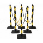 Guarda Set of 6 Black/Yellow Chain Posts 10m Rubber Base