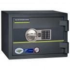 Burton Home Safe Size 1E in Graphite with a Digital Lock, shown closed