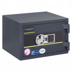 Burton Home Safe Size 2 in Graphite with a Digital Lock, shown closed