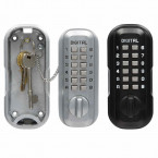 Lockey LKS500/SC Black Digital Large Outdoor Key Safe showing safe open in satin chrome finish