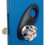 Probe Type B Hasp and Staple Lock fitted to Blue door. If used without a padlock it  just latches the door