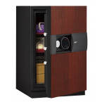 The Phoenix Next LS7002FC Luxury Safe slightly open with cherry finished body