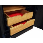 Wooden drawers fully open to show velvet interior to protect jewellery of the Phoenix Next LS7002FC