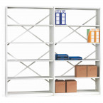 Probe Ikon 6 Tier Open Braced White Shelving Unit 183Hx100Wx40D cm with extension fixed