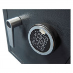Chubbsafes Omega Size 1 showing the re-programmable digital electronic lock in close up