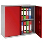 Phoenix SCL0891GRE 2 Door Red Electronic Steel Storage Cupboard door open