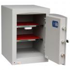 Securikey SFMV2FRK-G Mini Vault Gold Key Lock Security Safe wide open showing 2 shelves