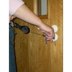 Keybak Karabiner Style Key Reel 120cm Kevlar Cord in use