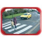 Vialux 524 Convex Observation Mirror Polymir 600x400mm with red frame