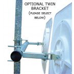 Twin Pole bracket to allow two Vialux 514 Multi-Use Convex Polymir 400mm Mirrors to be fixed to a single pole