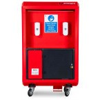 Armorgard Sanistation Pro SP160 Showing dispernser, storage and swing bin