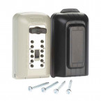 Outdoor Key Safe with black weatherproof hinged cover.
