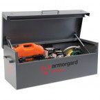 Armorgard TuffBank TB12 open with stored tools and equipment
