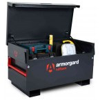 Armorgard Tuffbank TB2 Security Tested Site Tool Storage Box - in use